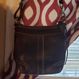 Chocolate brown leather Coach crossbody